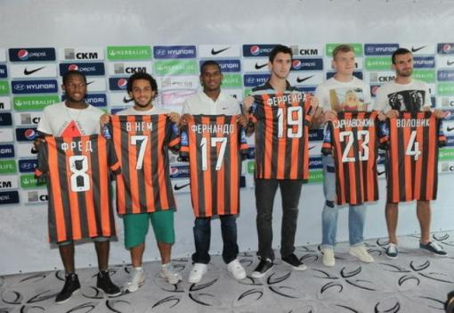 Fred, Wellington Nem e Fernando são os novos reforços do Shakhtar. (Foto: Site oficial do Shakhtar)
